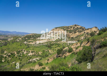 Green grass and brush cover a hillside in southern California near Santa Clarita - Stock Image