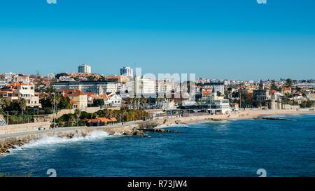 Estoril, Portugal - Dec 6, 2018: High perspective view of Estoril coastline near Lisbon in Portugal - Stock Image