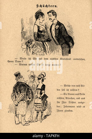 Victorian Cartoon of men flirting with shy young woman, 1880s, German - Stock Image