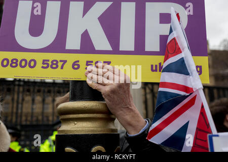 On the day that Prime Minister Theresa May's Meaningful Brexit vote is taken in the UK Parliament, UKIP voters protest outside the House of Commons, on 15th January 2019, in Westminster, London, England. - Stock Image