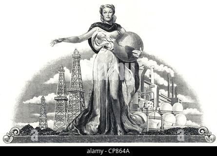 Illustration in the vignette of a historical stock certificate of an oil and gas company, a young woman holding - Stock Image