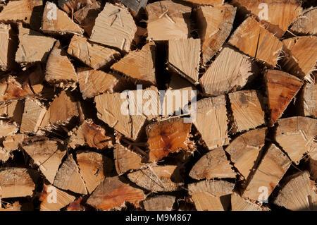 Stacked firewood at a farm on Bruny Island, Tasmania, Australia - Stock Image