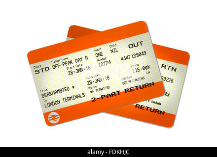 A pair of train tickets, outward and return journey. - Stock Image