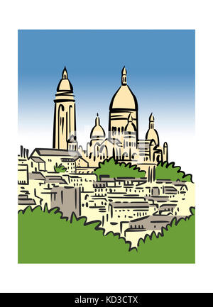 Illustration of Montmartre in Paris, France - Stock Image