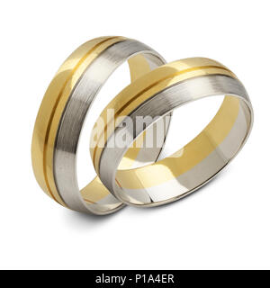 A pair of wedding rings, isolated on white background - Stock Image