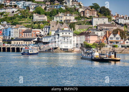 23 May 2018: Dartmouth, Devon, UK - The Lower Ferry, crossing the River Dart and approaching Kingswear. Tug which steers it across can be seen alongsi - Stock Image