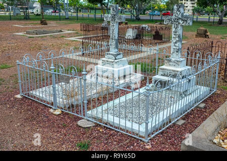 Grave of Paul Foelsche and wife Charlotte at the Pioneer Cemetery formerly called Palmerston Cemetery in Darwin city, Northern Territory, Australia. - Stock Image