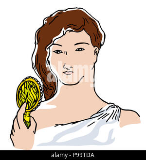 beautiful girl and mirror.  illustrationm of beautiful woman holding a mirror. young and cute, beautiful girl holding a mirror isolated. - Stock Image