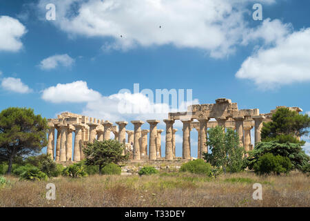 In the landscape, ruins of ancient temples at Selinunte in Sicily, Italy - the largest archeological park in Europe. - Stock Image