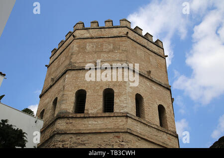 Spain. Seville. Tower of Silver. 13th century. Part of city walls. Octogonal. - Stock Image