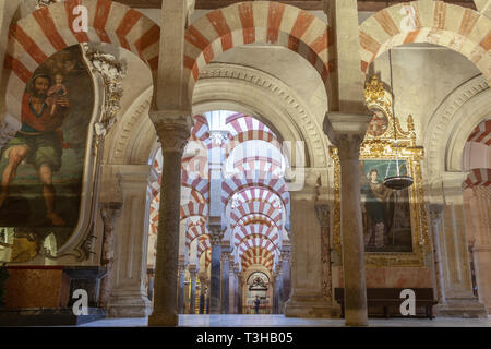 interior view of the mosque in cordoba with its many archways - Stock Image