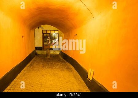 The alley, Bredgränd, in Gamla Stan, the old town of Stockholm, ends in this passage at the north end, at Österlånggatan. - Stock Image