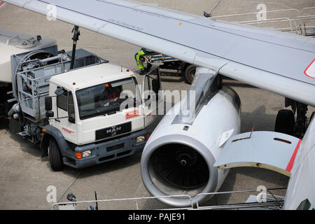 refuelling bowser with hose attached under the wing of an Air Berlin Airbus A319 parked - Stock Image