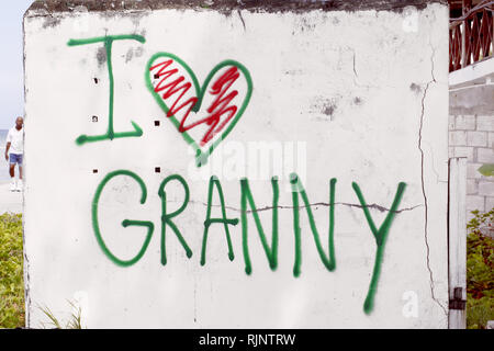 Picture shows graffiti on a wall in Barbados professing someones love for their Granny - Stock Image