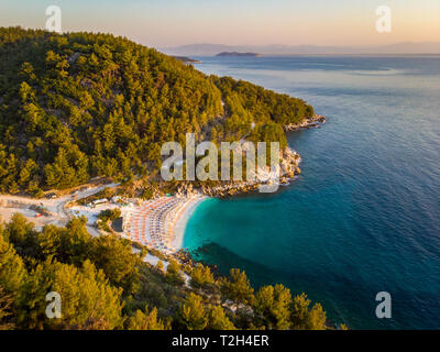 Aerial drone view of Thasos Marble Beach at sunrise - Stock Image