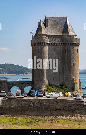 Low tide of the Tour de Solidor on the Solidor waterfront in the port of Saint Malo on the north coast of Brittany in France. - Stock Image