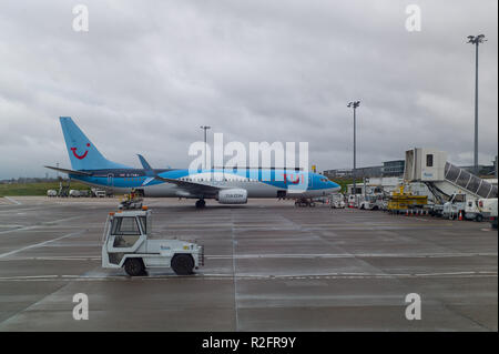 Tui.com jet at Aberdeen Airport Scotland - Stock Image