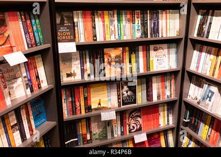 Paperback novels on bookcases in a Waterstones bookshop on Winchester High Street, Hampshire, England - Stock Image
