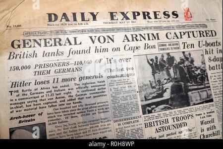 WWII Second World War newspaper headline in Daily Express paper 'General Von Arnim Captured'  'Hitler loses 11 more generals' England UK  13 May 1943 - Stock Image