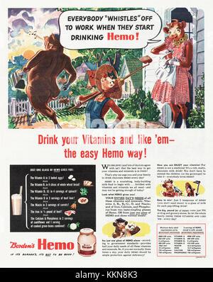 1943 U.S. Magazine Borden's Hemo Milk Products Advert - Stock Image
