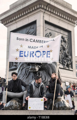London, UK, 23rd March 2019. A million protestors march against Brexit and in support of a second referendum. Protestors in Trafalgar Square - Stock Image