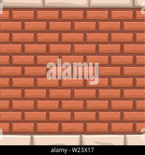 red bricks wall with white stones - Stock Image