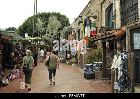 Calle Olvera, or Olvera Street. El Pueblo de Los Angeles Historic Monument, Los Angeles - Stock Image