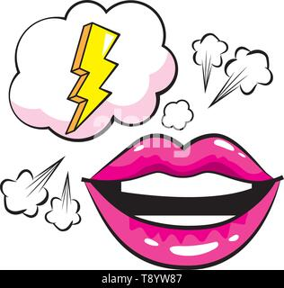 mouth woman with speech bubbles and bolt pop art comic cartoon - Stock Image