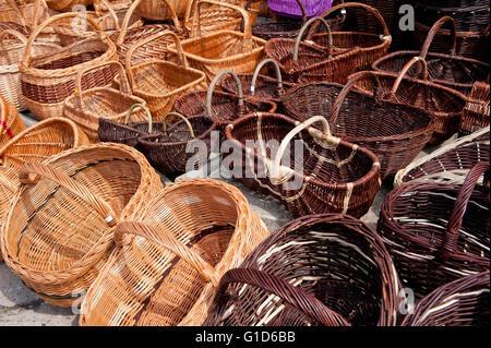 Wicker baskets range at the bazaar in Kazimierz Dolny, Poland, Europe, bohemian tourist travel destination, sightseeing - Stock Image