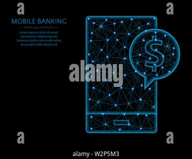 Mobile banking low poly model, modern phone in polygonal style, finance or dollar symbol wireframe vector illustration made from points and lines - Stock Image