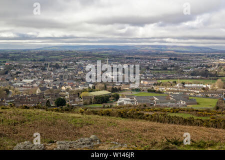 Panoramic view from Vinegar Hill to the town of Enniscorthy under heavy storm clouds.County Wexford,Ireland. - Stock Image