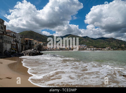 The beach front in Cefalu, Sicily. - Stock Image