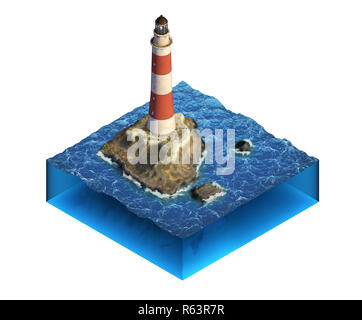 Small piece of ocean with islands and lighthouse. Isometric illustration. 3D render. - Stock Image