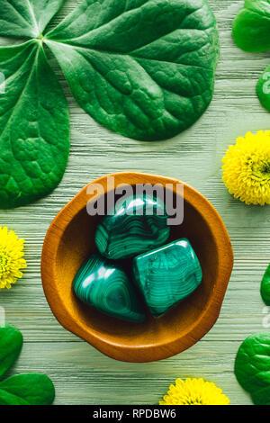 Malachite with Shamrocks and Yellow Chrysanthemums - Stock Image