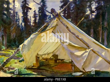 A Tent in the Rockies, John Singer Sargent, 1916, Isabella Stewart Gardner Museum, Boston, Mass, Massachusetts, North America, US, USA - Stock Image