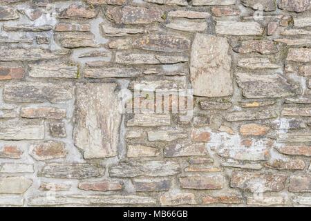 Random stonework of a wall in Cornwall, UK - Stock Image