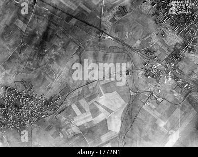 A contemporary British black and white aerial photograph taken on 24th September 1918, during  World War One, showing the destruction caused by the massive shelling and bombing of huge areas of Northern France. - Stock Image