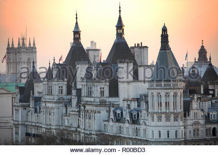 Whitehall Court at sunset in London - Stock Image