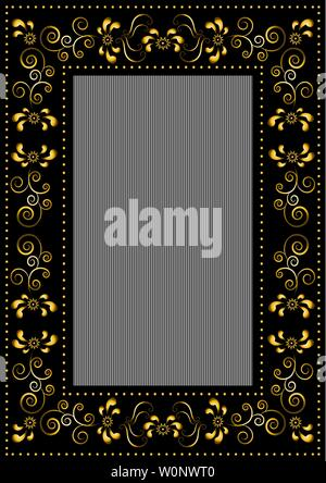 Black rectangular frame with calligraphic floral pattern and beads on striped black grey background - Stock Image