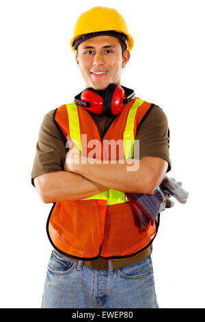 Stock image of male construction worker over white background - Stock Image