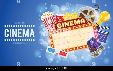 Cinema and Movie Banner - Stock Image