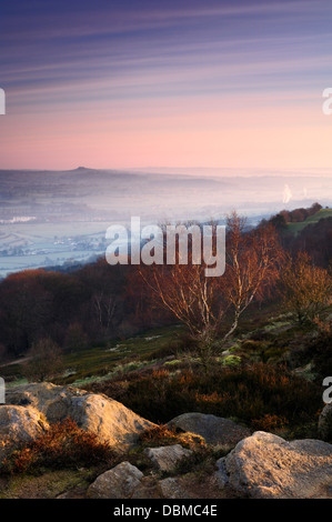 Almscliffe Crag and Lower Wharfedale from Surprise View - Stock Image