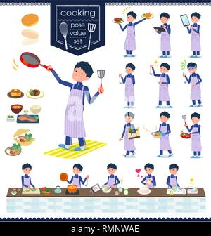 A set of school boy in sportswear about cooking.There are actions that are cooking in various ways in the kitchen.It's vector art so it's easy to edit - Stock Image
