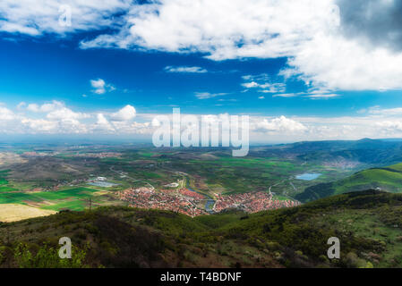 Panoramic view landscape, Krichim town in front, Bulgaria - Stock Image