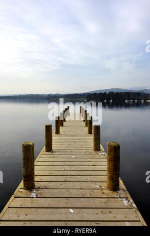 Boat Jetty,Lake Windermere,Ambleside,Lake District,Cumbria,England,UK - Stock Image