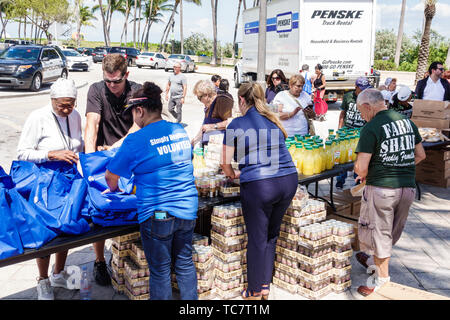 Miami Beach Florida North Beach Ocean Terrace Farm Share food giveaway free distribution needy low income volunteer man woman Hispanic Black - Stock Image