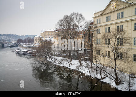 Aerial view of the Prague in winter, Czech Republic, Europe. - Stock Image
