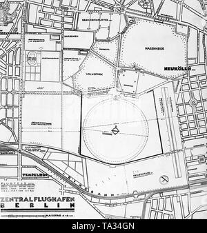 Maps for the construction of the Berlin-Tempelhof airport. - Stock Image