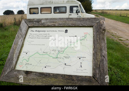 The Ridgeway National Trail information board near the start of the trail at its junction with the A4 at Overton - Stock Image