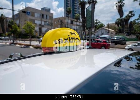Israel, Tel Aviv-Yafo - 20 April 2019: Taxi sign - Stock Image